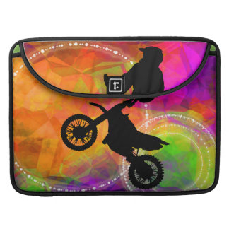 Motocross Jump in Fire Circles Sleeve For MacBooks