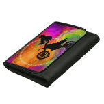 Motocross Jump in Fire Circles Wallets