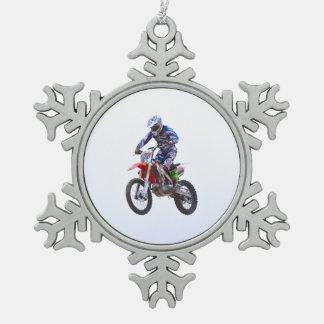 Motocross Jump Snowflake Pewter Christmas Ornament