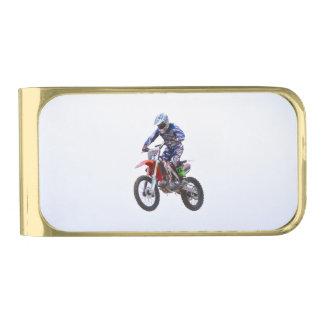 Motocross Jump Gold Finish Money Clip