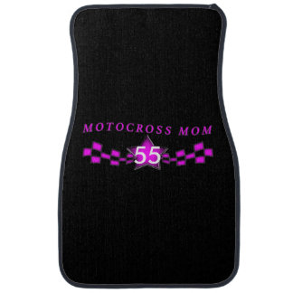 Motocross mom's star and checkered flags car mat