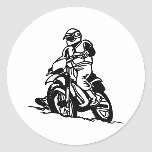 Motocross Motorcycle Classic Round Sticker