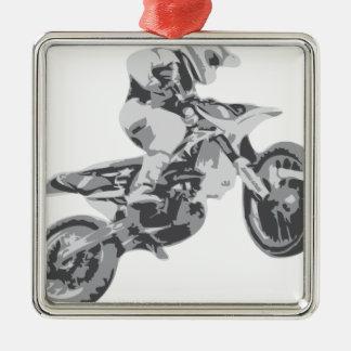 Motocross Square Metal Christmas Ornament