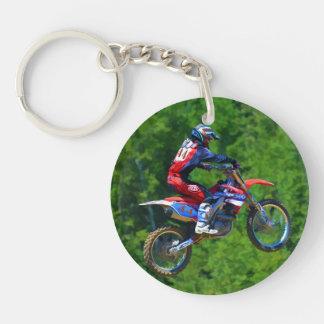 Motocross Racing Champion Getting Air Single-Sided Round Acrylic Keychain