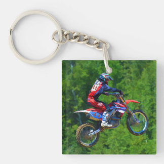 Motocross Racing Champion Getting Air Single-Sided Square Acrylic Keychain
