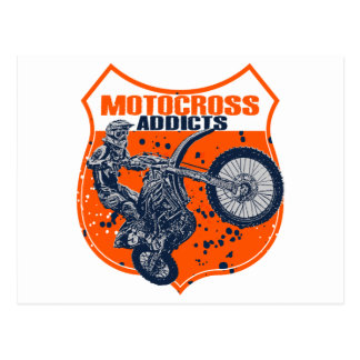 Motocross racing post card
