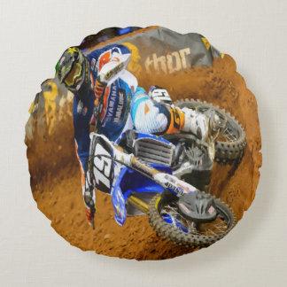 Motocross Racing Round Pillow