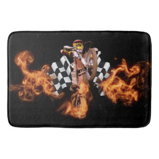 Motocross rider and checkered flags on fire bathroom mat