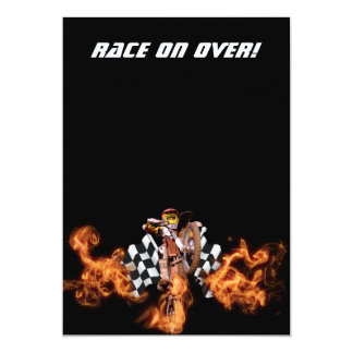 Motocross rider and checkered flags on fire card