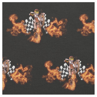 Motocross rider and checkered flags on fire fabric