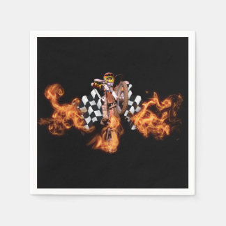 Motocross rider and checkered flags on fire standard cocktail napkin