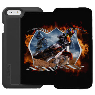 Motocross rider fire and lightning. iPhone 6/6s wallet case