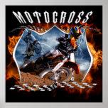 Motocross rider fire and lightning. poster