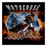 Motocross rider fire and lightning. posters