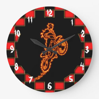 Motocross rider in flames with red checkered flag large clock