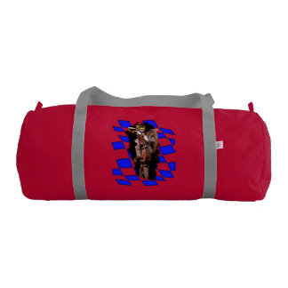 Motocross rider jumping out of blue checkered flag duffle bag