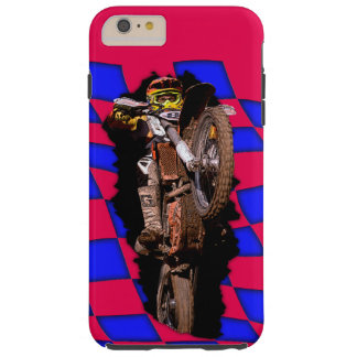 Motocross rider jumping out of blue checkered flag tough iPhone 6 plus case