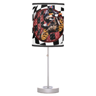 Motocross Rider jumping to the checkered flag Desk Lamp