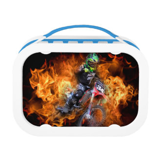 Motocross rider racing through fire yubo lunchboxes