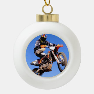 Motocross rider showing off for the camera ceramic ball christmas ornament