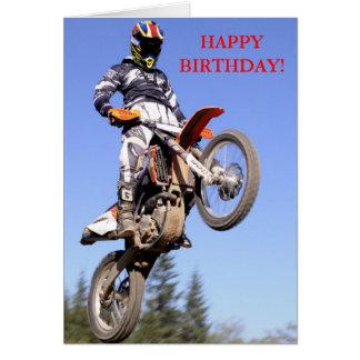 Motocross rider standing tall birthday card