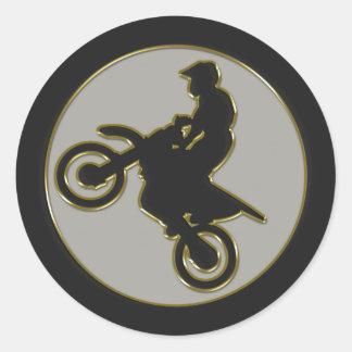 Motocross Rider Classic Round Sticker