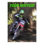 Motocross rider tearing up the track invitation