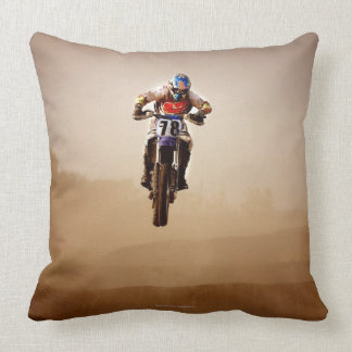 Motocross Rider Throw Pillow