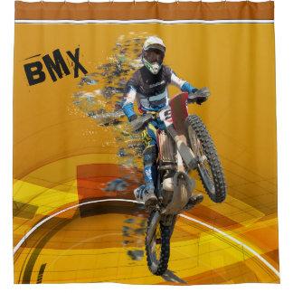 Motocross Rider Wheelie Abstract Desert Landscape Shower Curtain