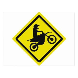 motocross roadsign postcard