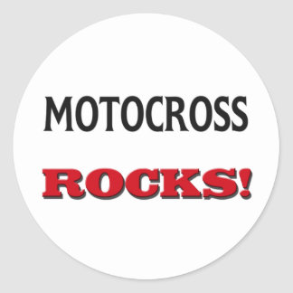 Motocross Rocks Classic Round Sticker
