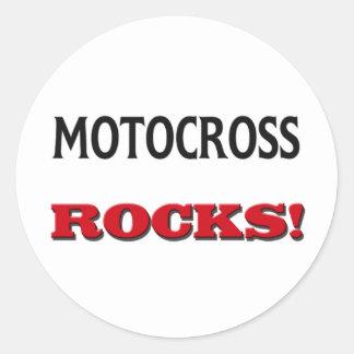 Motocross Rocks Round Stickers