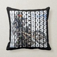 Motocross Sports Dirt Biker Photo Typography Throw Pillow