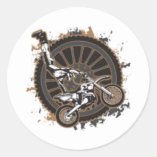Motocross Stunt Round Sticker