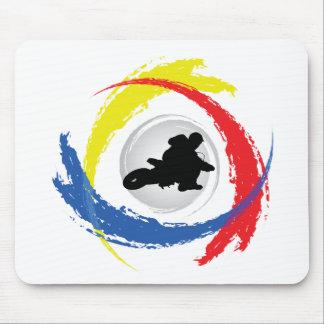 Motocross Tricolor Emblem Mouse Pad