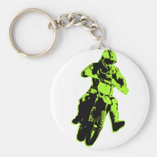 Motocross verdes llavero redondo tipo pin