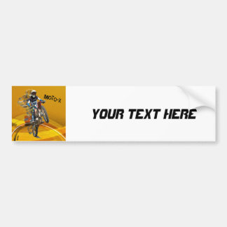 Motocross Wheelie in Pieces Abstract Desert Text Bumper Sticker