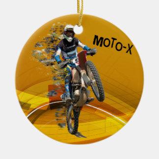 Motocross Wheelie in Pieces Abstract Desert Text Ceramic Ornament
