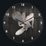 """Motocross Whip; Cool Black Large Clock<br><div class=""""desc"""">Cool grunge industrial metal look motocross motorcycle racing race sport dirt bike design. Great for gifts! Available on tee shirts, smart phone cases, mousepads, keychains, posters, cards, electronic covers, computer laptop / notebook sleeves, caps, mugs, and more! Visit our site for a custom gift case for Samsung Galaxy S3, iphone...</div>"""