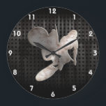 "Motocross Whip; Cool Black Large Clock<br><div class=""desc"">Cool grunge industrial metal look motocross motorcycle racing race sport dirt bike design. Great for gifts! Available on tee shirts, smart phone cases, mousepads, keychains, posters, cards, electronic covers, computer laptop / notebook sleeves, caps, mugs, and more! Visit our site for a custom gift case for Samsung Galaxy S3, iphone...</div>"