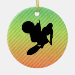 Motocross Whip Double-Sided Ceramic Round Christmas Ornament