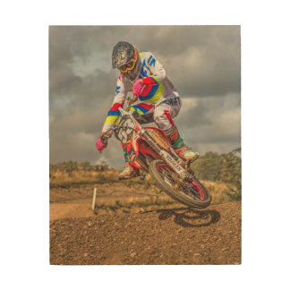 Motocross wood picture wood print