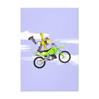 Motocross young is maintained with a single hand canvas print