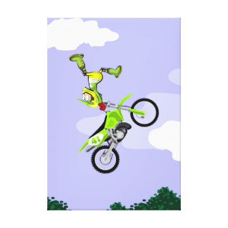 Motocross young making pirouettes in the air canvas print