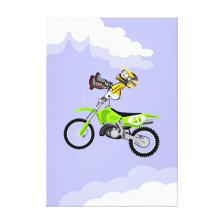 Motocross young seated in the handlebars of its canvas print