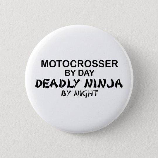 Motocrosser Deadly Ninja by Night Pinback Button