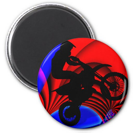Motocrossing Going Loopy 2 Inch Round Magnet