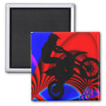 Motocrossing Going Loopy 2 Inch Square Magnet