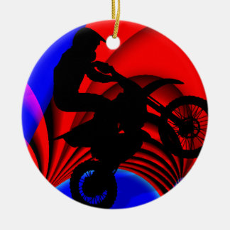 Motocrossing Going Loopy Ceramic Ornament