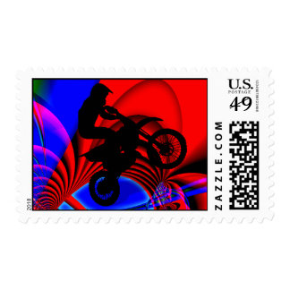 Motocrossing Going Loopy Postage Stamp